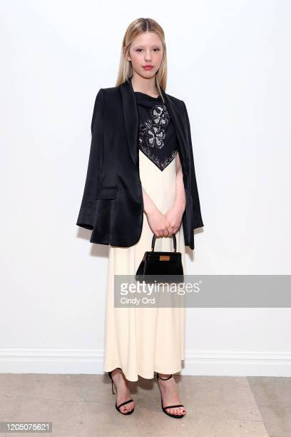 Mia Goth attends the Tory Burch Fall Winter 2020 Fashion Show at Sotheby's on February 09 2020 in New York City
