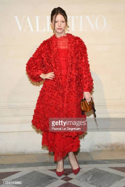 Mia Goth attends the Valentino Haute Couture Spring Summer 2019 show as part of Paris Fashion Week on January 23 2019 in Paris France