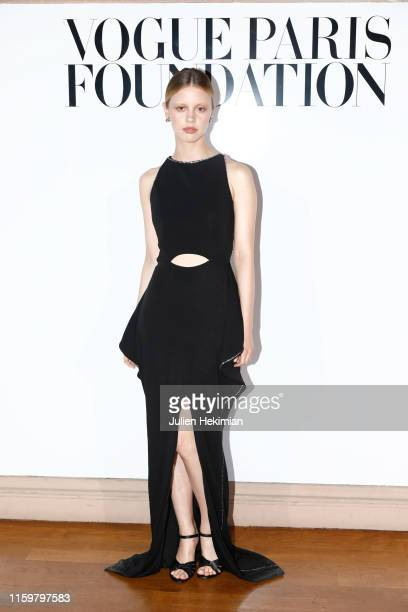 Mia Goth attends the Vogue diner as part of Paris Fashion Week Haute Couture Fall Winter 2020 at Le Trianon on July 02 2019 in Paris France