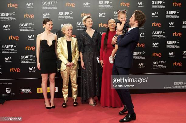 Mia Goth director Claire Denis Agata Buzek Juliette Binoche Scarlett Lindsey and Robert Pattinson attend the 'High Life' premiere during the 66th San...