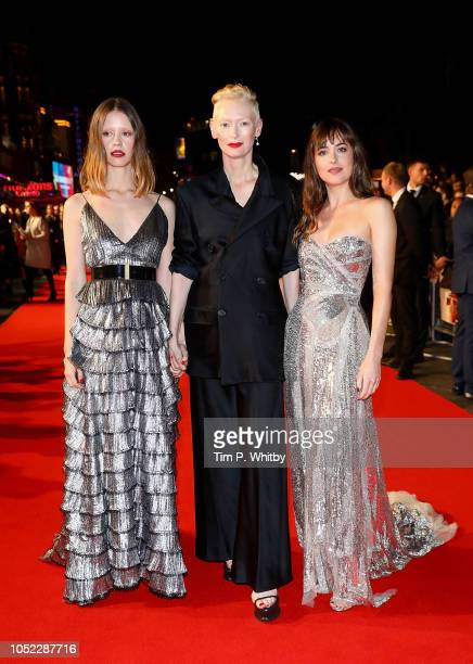 Mia Goth Tilda Swinton and Dakota Johnson attend the UK Premiere of Suspiria Headline Gala during the 62nd BFI London Film Festival on October 16...