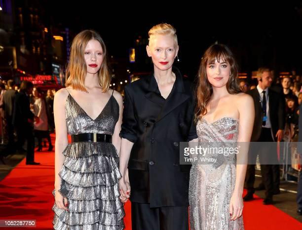 Mia Goth Tilda Swinton and Dakota Johnson attend the UK Premiere of Suspiria Headline Gala during the 62nd BFI London Film Festival on October 16...
