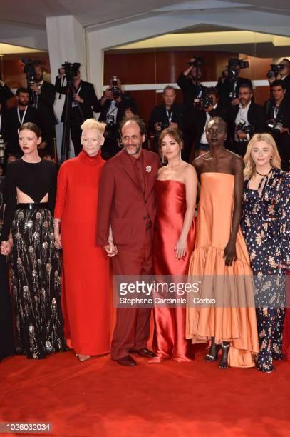 Mia Goth, Tilda Swinton, Luca Guadagnino, Dakota Johnson, Alek Wek and Chloe Grace Moretz walk the red carpet ahead of the 'Suspiria' screening...