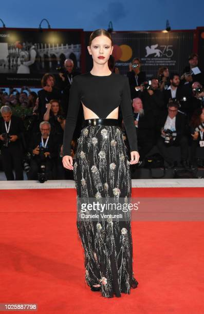 Mia Goth walks the red carpet ahead of the 'Suspiria' screening during the 75th Venice Film Festival at Sala Grande on September 1 2018 in Venice...