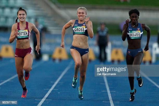 Mia Gross of Victoria wins the Women's 100 Metre Under 20 Final during day four of the Australian Junior Athletics Championships at the Sydney...