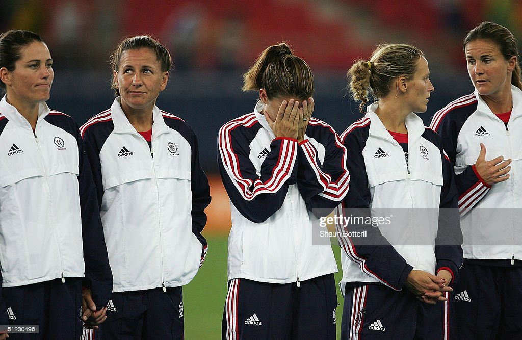 Mia Hamm of the USA cries after victory in the women's football Gold Medal match on August 26, 2004 during the Athens 2004 Summer Olympic Games at Karaiskaki Stadium in Athens, Greece.