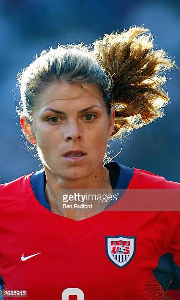 Mia Hamm of the USA pursues the ball against Germany during the semifinals of the FIFA Women's World Cup match on October 5 2003 at PGE Park in...