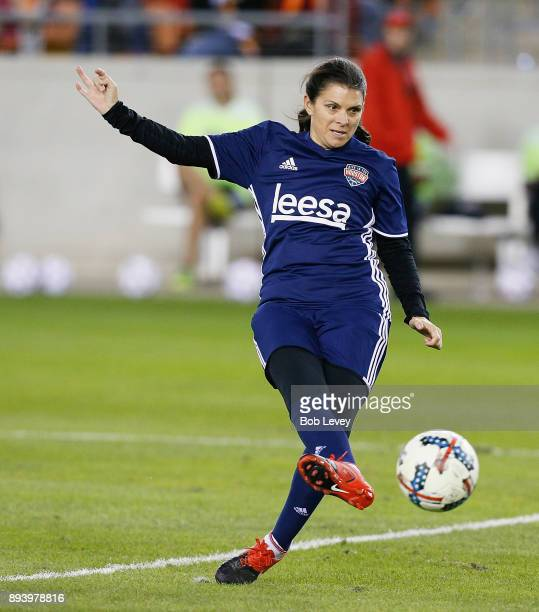Mia Hamm shoots on goal during the Kick In For Houston Charity Soccer Match at BBVA Compass Stadium on December 16 2017 in Houston Texas