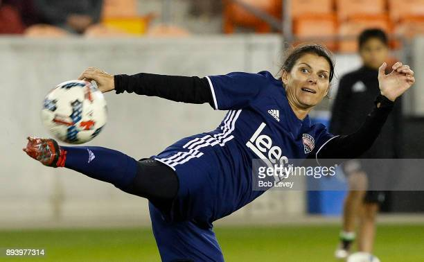 Mia Hamm warms up before the Kick In For Houston Charity Soccer Match at BBVA Compass Stadium on December 16 2017 in Houston Texas