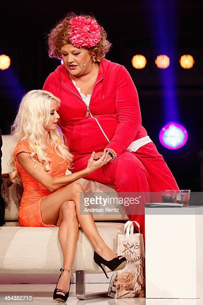 Mia Julia and Cindy aus Marzahn attend the Promi Big Brother finals at Coloneum on August 29 2014 in Cologne Germany