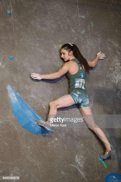 Mia Kampl of Slovenia competes during semi finals of the IFSC Climbing World Cup Meiringen on April 14 2018 in Meiringen Switzerland