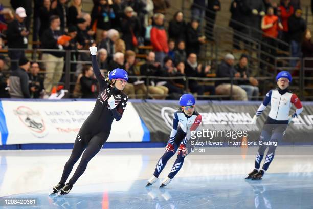 Mia Kilburg-Manganello of the United States celebrates after winning the Ladies Mass Start during day two of the ISU Four Continents Speed Skating...