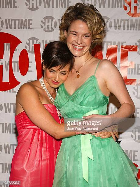 Mia Kirshner and Leisha Hailey during 'The L Word' Showtime Network's Second Season Premiere at Directors Guild of America in Los Angeles California...