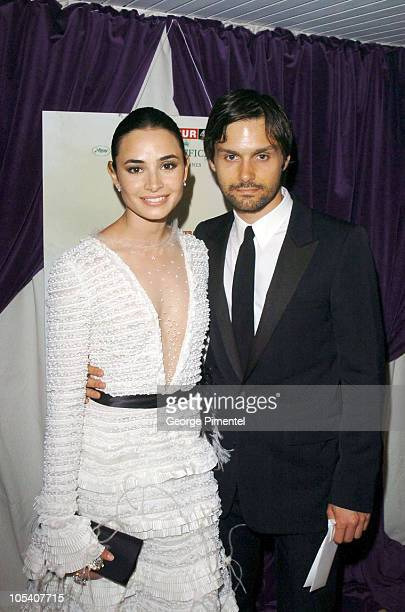 Mia Maestro and Ned Benson during 2004 Cannes Film Festival 'Motorcycle Diaries' Party at La Plage Coste in Cannes France
