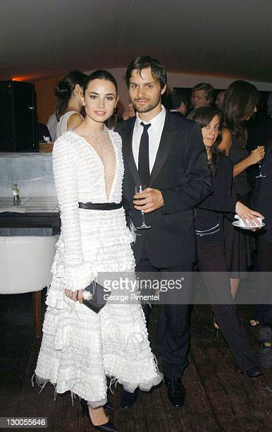 Mia Maestro and Ned Benson during 2004 Cannes Film Festival Motorcycle Diaries Party at La Plage Coste in Cannes France