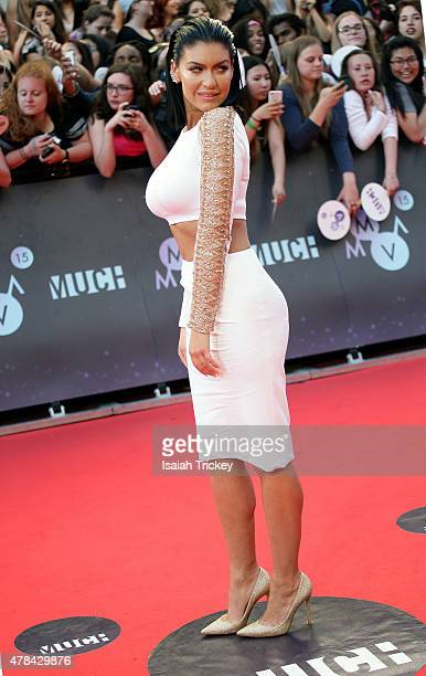 Mia Martin arrives at the 2015 MuchMusic Video Awards at MuchMusic HQ on June 21 2015 in Toronto Canada