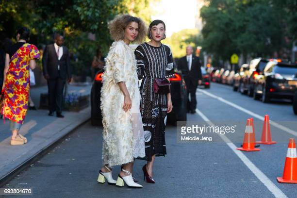 Mia Moretti and Cleo Wade outside the Stella McCartney Spring 18 presentation on June 8 2017 in New York City Mia wears a Spring/Summer 2017 Cotton...