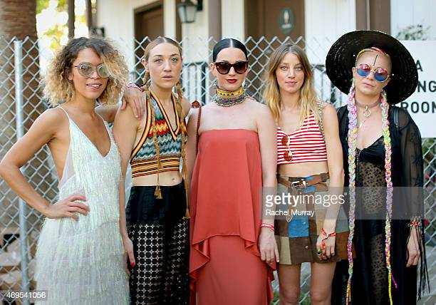 Mia Moretti and Katy Perry with guests in the VIP arena during the 2015 Coachella Valley Music and Arts Festival Weekend 1 at The Empire Polo Club on...