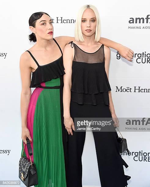 Mia Moretti and Margot Moretti attend the amfAR generationCure Solstice 2016 on June 21 2016 in New York City