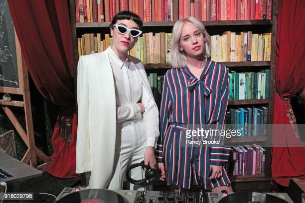 Mia Moretti and Margot of The Dolls pose at the Alice Olivia By Stacey Bendet Presentation February 2018 New York Fashion Week The Shows at Industria...