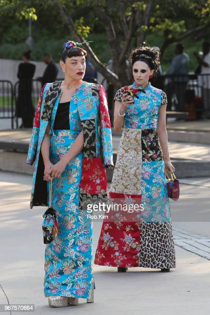 Mia Moretti and Stacey Bendet arrive for the 2018 CFDA Fashion Awards at Brooklyn Museum on June 4, 2018 in New York City.