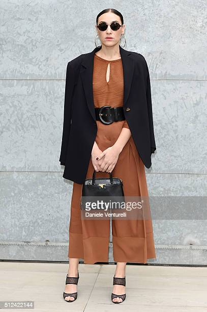 Mia Moretti attends the Emporio Armani show during Milan Fashion Week Fall/Winter 2016/17 on February 26 2016 in Milan Italy