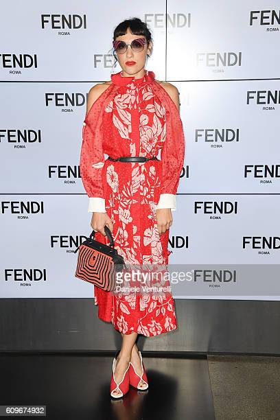 Mia Moretti attends the Fendi show during Milan Fashion Week Spring/Summer 2017 on September 22 2016 in Milan Italy