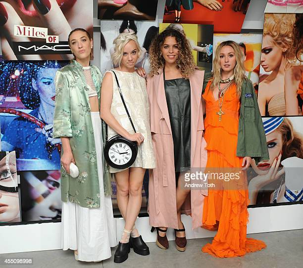 Mia Moretti Margot Cleo Wade and Kate Greer attend MAC Cosmetics and Miles Aldridge celebrate NYC Rizzoli book launch Miles Of MAC at Steven Kasher...