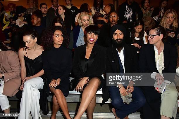 Mia Moretti Yara Shahidi Jennifer Hudson Waris Ahluwalia and Jenna Lyons attend the DKNY Women's Fall 2016 Show from Front Row during New York...
