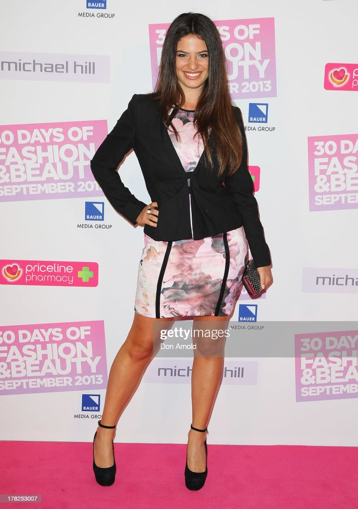 Mia Morrissey arrives at the 30 Days of Fashion and Beauty launch party at Town Hall on August 28, 2013 in Sydney, Australia.