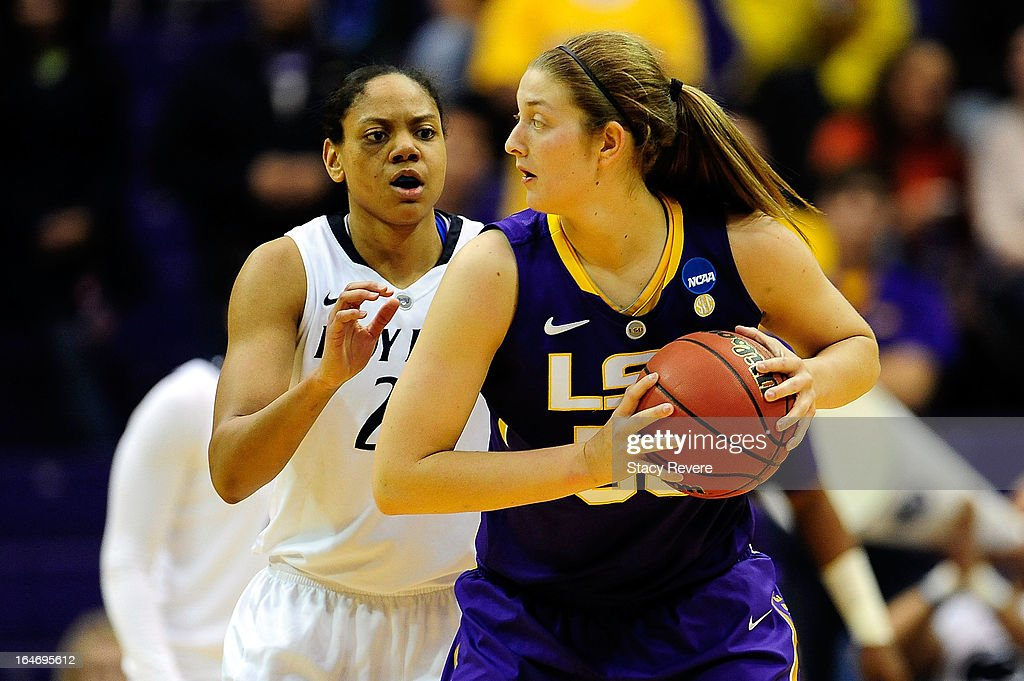 Mia Nickson #24 of the Penn State Lady Lions guards Theresa Plaisance #55 of the LSU Tigers during the second round of the NCAA Tournament at the Pete Maravich Assembly Center on March 26, 2013 in Baton Rouge, Louisiana. LSU won the game 71-66.