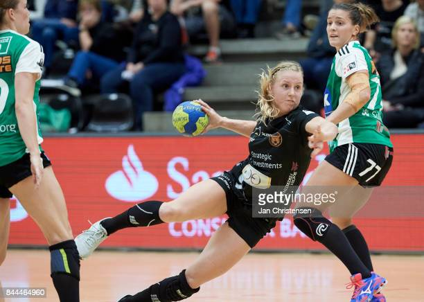 Mia Rej of Copenhagen Handball in action during the Danish HTH Go Ligaen match between Copenhagen Handball and Silkeborg Voel in...