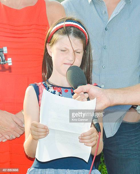 Mia Robertson from the 'Duck Dynasty' television show speaks during a press conference to Raise Awareness For Cleft Palate And Lip Treatment at US...