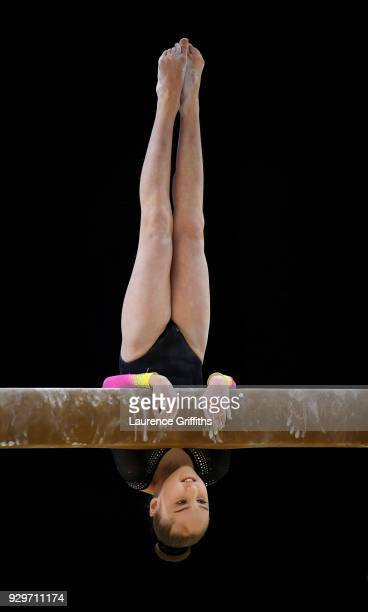 Mia Scott of South Durham Gymnastics performs on the beam during The Women's Junior AllAround Subdivision 1 Round during the Gymnastics British...
