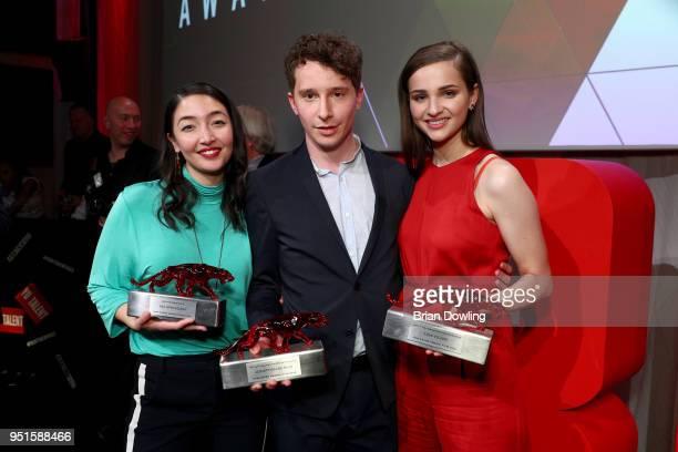 Mia Spengler Jonathan Berlin and Lisa Vicari at the New Faces Award Film at Spindler Klatt on April 26 2018 in Berlin Germany