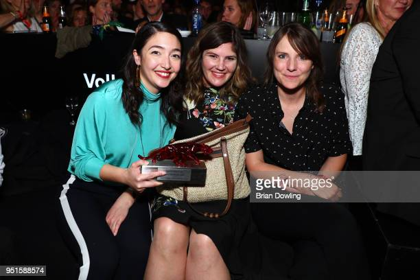 Mia Spengler Tini Tuellmann and Helena Hufnagel at the New Faces Award Film at Spindler Klatt on April 26 2018 in Berlin Germany