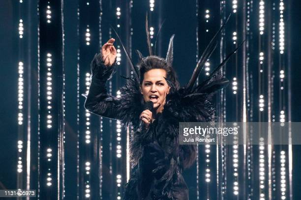 Mia Stegmar, lead singer of the Swedish folk-metal group Pagan Fury participates in the fourth heat of Melodifestivalen, Sweden's competition to...