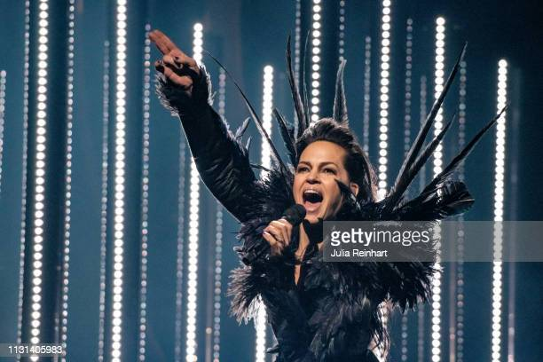 Mia Stegmar, lead singer of the Swedish folk-metal group Pagan Fury, participates in the fourth heat of Melodifestivalen, Sweden's competition to...