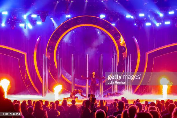 Mia Stegmar, leadsinger of the Swedish folk-metal group Pagan Fury participates in the fourth heat of Melodifestivalen, Sweden's competition to...