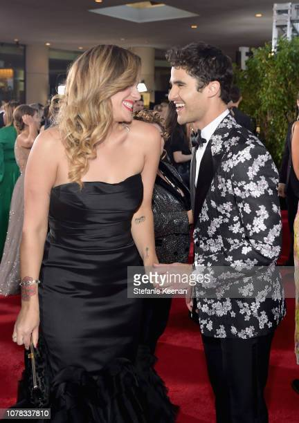 Mia Swier and Darren Criss attend FIJI Water at the 76th Annual Golden Globe Awards on January 6 2019 at the Beverly Hilton in Los Angeles California