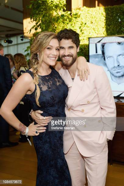 Mia Swier and Darren Criss attend FX Networks celebration of their Emmy nominees in partnership with Vanity Fair at Craft on September 16 2018 in...