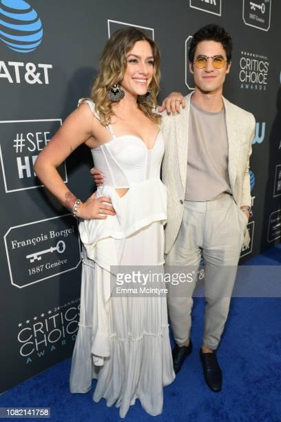 Mia Swier and Darren Criss attend the 24th annual Critics' Choice Awards at Barker Hangar on January 13 2019 in Santa Monica California