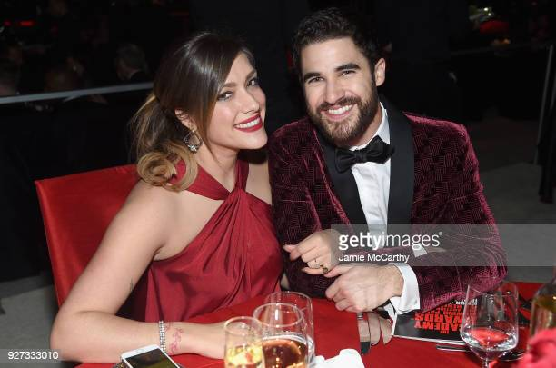 Mia Swier and Darren Criss attend the 26th annual Elton John AIDS Foundation Academy Awards Viewing Party sponsored by Bulgari celebrating EJAF and...