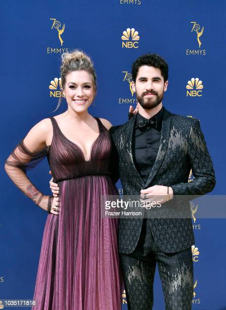 Mia Swier and Darren Criss attend the 70th Emmy Awards at Microsoft Theater on September 17 2018 in Los Angeles California