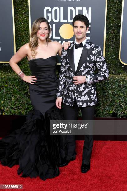 Mia Swier and Darren Criss attend the 76th Annual Golden Globe Awards at The Beverly Hilton Hotel on January 6 2019 in Beverly Hills California
