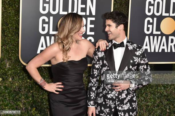 Mia Swier and Darren Criss attend the 76th Annual Golden Globe Awards at The Beverly Hilton Hotel on January 06 2019 in Beverly Hills California