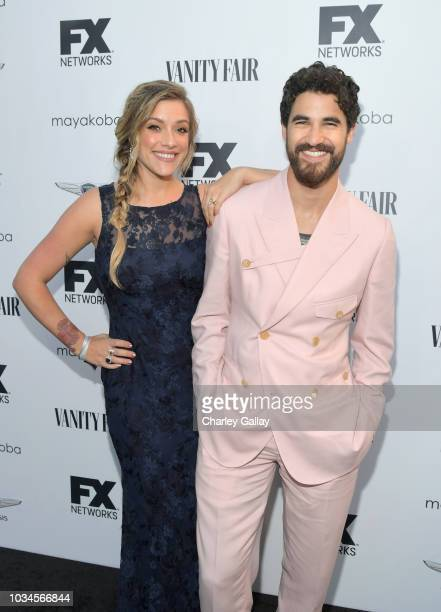 Mia Swier and Darren Criss attends FX Networks celebration of their Emmy nominees in partnership with Vanity Fair at Craft on September 16 2018 in...