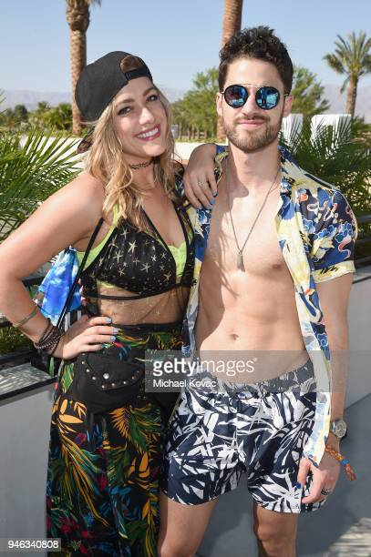 Mia Swier and Darren Criss party with Dream Hotels at Republic Records and Dream Hotels present The Estate at Zenyara on April 14 2018 in Coachella...
