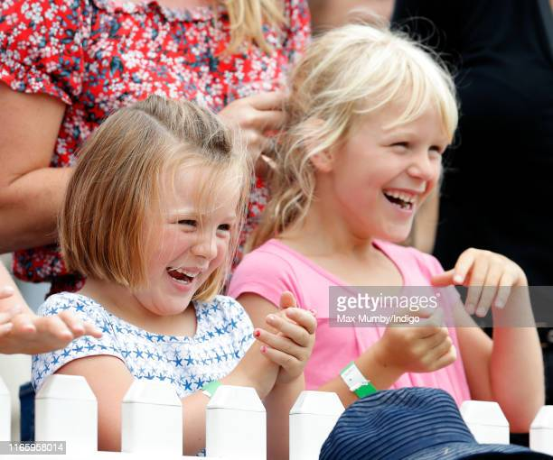 Mia Tindall and Isla Phillips cheer as they watch the Shetland Pony Grand National on day 2 of the 2019 Festival of British Eventing at Gatcombe Park...