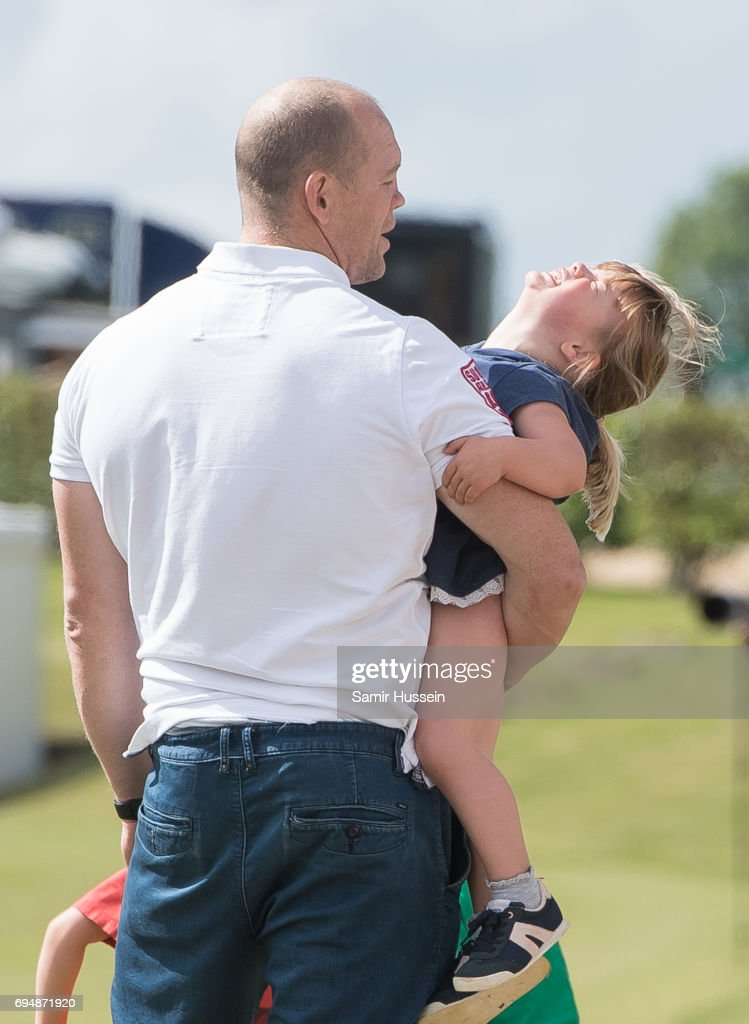 Mia Tindall and Mike Tindall attend the Maserati Royal Charity Polo Trophy at Beaufort Polo Club on June 11, 2017 in Tetbury, England.